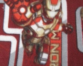 Reserved for Kathy - Ironman on Red with Gray Handmade Blanket