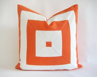Pillow Cover Indoor Outdoor Mitered Orange & White Cabana Stripes