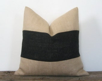 Natural Burlap Pillow Cover Black Stripe Color Block Zipper Display Both Sides