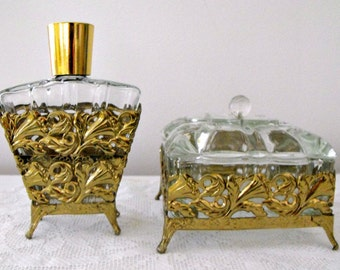 Vintage 1950s  Two Piece  Glass and Brass Filigree Vanity Set - Collectable - Powder or Trinket Box with Matching Lotion Bottle