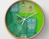 Quirky Wall Clock Art Clock Nature Modern Wall Clock Home Decor Abstract Clock Bright Green