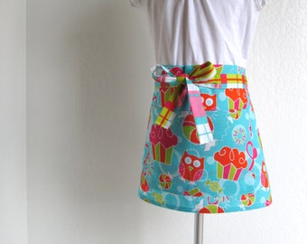 Childrens Half Apron - SALE Adorable Cupcakes and Owls Turquoise Kids Half Apron, fun for cooking or creating arts and crafts