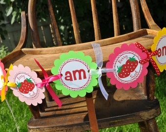 Strawberry Highchair Banner - Strawberry Birthday Party - Berry Sweet Birthday Party - Girls Birthday Party Decorations