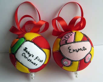 Personalized Baby's First Christmas Ornament - Red and Yellow