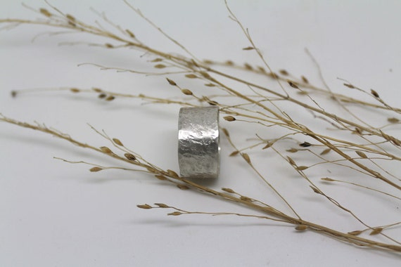 Wide silver wedding ring, rustic wedding band, promise ring for men or women