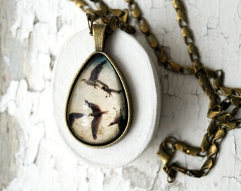 Seagulls Teardrop Photo Jewelry Necklace, Birds Pendant Jewelry, NYC Bronze Wearable Art