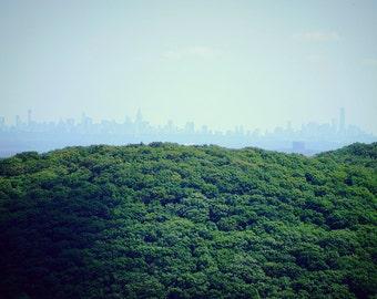 New York City Skyline and Nature Photography Print, NYC Wall Art, Nature Print, Trees Photo