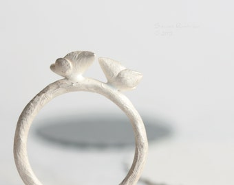 Two Little Sparrows Ring White Sterling Silver Bird OOAK  T10