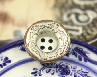 Metal Buttons - Floral Border Metal Buttons , Funnel Shaped  , Copper Patina Color , 4 Holes , 0.67 inch , 10 pcs