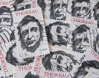 Henry David Thoreau 30 US Vintage Postage Stamps 1960s 5-Cent Black and White American Literature Author Walden Massachusetts Nature Hermit