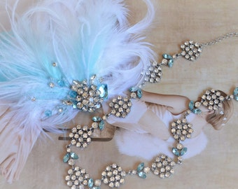 Sale, READY TO SHIP, Something Blue, White and Blue Feather headpiece, Feather headband, Aqua, Baby blue, Rhinestone headband, One of a Kind