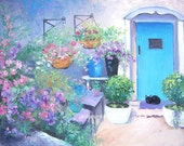 COTTAGE GARDEN, cottage art, flower garden painting, sweet peas, pot plants painting, blue door, living room art, designer decor, Jan Matson