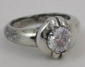 Vintage Sterling Silver .75ct Round Diamonique Ladies Wedding Engagement Ring sz 6