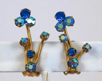 Vintage 50s Sparkling AB Aurora Borealis Austrian Crystal Rhinestone Glamour Girl Clip Earrings
