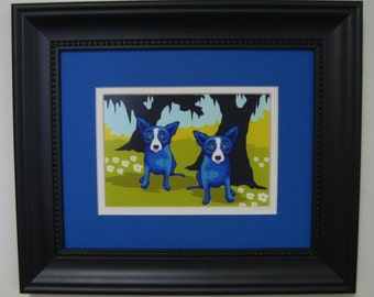 "George Rodrigue Blue Dog ""DAISIES FOR YOU"" Promotional Postcard - Framed 13"" x 11"""