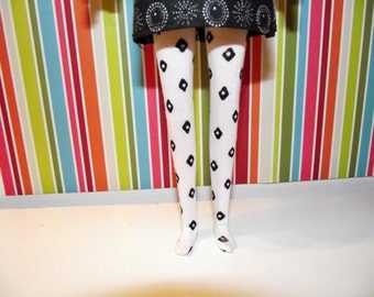 White with black flowers tights leggins for Pullip doll