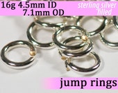 16g 4.5mm ID 7.1mm OD silver filled jump rings -- 16g4.50 jumprings jewelry supplies findings links silverfilled silverfill