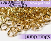 20g 3.0mm ID 4.7mm OD gold filled jump rings -- 20g3.00 goldfill jumprings 14k goldfilled jewelry supplies findings