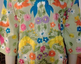 Embriodered Floral Shirt Jacket Mandarin Collar Chuchi Phillipines Lime Green Small
