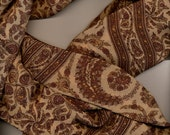 Long Paisley Silk Scarf vintage brown