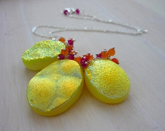 Juicy  cirtus lemon druzy & sterling silver bib necklace