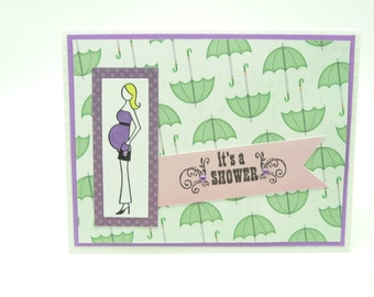 Baby Shower Card, Pregnant Woman Shower Card, Umbrella Shower Card, Pastel Baby Card, Handmade Paper Greeting Card