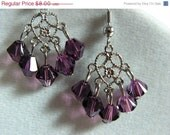 FINAL SALE Amethyst Swarovski Chandelier Earrings February Birthstone