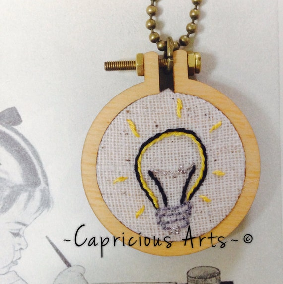 I've Got an Idea Hand Embroidered Mini Hoop Art Necklace
