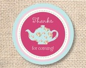 Girly Tea Party Printable Favor Circles - INSTANT DOWNLOAD