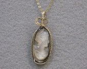Shell Cameo and Goldfilled Wire Pendant