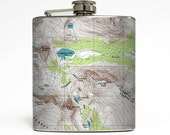 Topographical Map Whiskey Flask Traveler Camping Hiking Topo Groomsmen Gift Stainless Steel 6 oz Liquor Hip Flask LC-1039