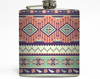 Aztec Flask Tribal Hipster Trendy Modern Southwestern Sorority Bridesmaid Women Birthday Gifts Stainless Steel 6 oz Liquor Hip Flask LC-1318