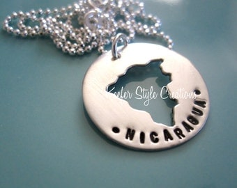 Nicaragua Hand Stamped adoption/mission Necklace