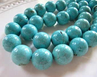 Large MAGNESITE Beads in Turquoise Blue, 19mm to 20mm, Round, 5 Beads