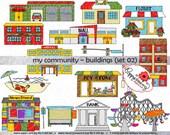 My Community Buildings (Set 02) Clipart: (300 dpi transparent png) School Teacher Clip Art Creative Writing Florist Pet Store Mechanic