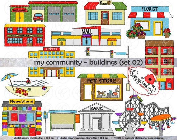 My Community Buildings Set 02 Clipart: 300 dpi transparent