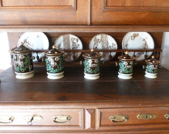 Five French Faience Canister Set of 5, French Country Pottery, Alsace France