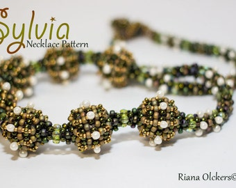 Beaded Necklace  tutorial, Right Angle Weave Necklace Beading pattern - Sylvia Necklace Pattern