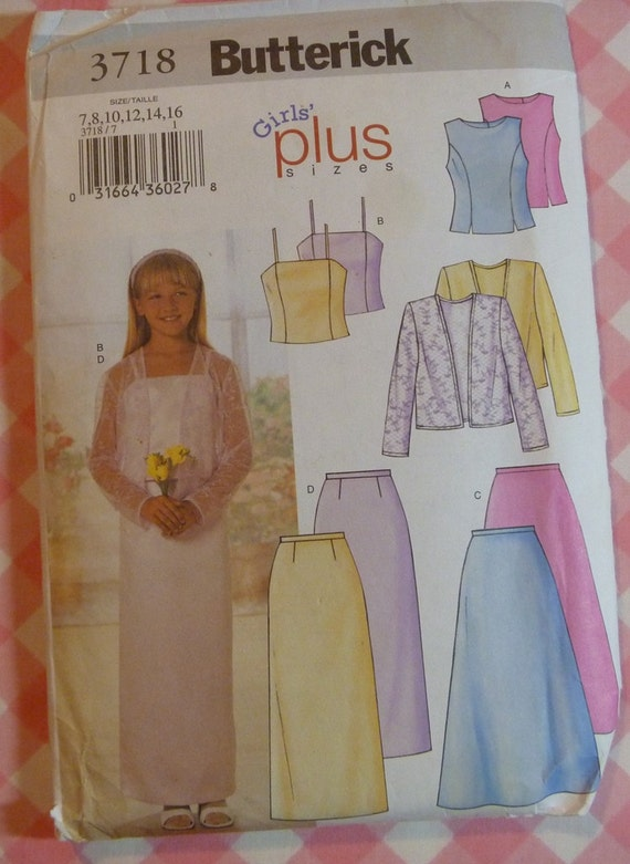 UNCUT Butterick Pattern-3718-Girls Plus Size Skirt, Girls Plus Size Jacket and Girls Plus Size Top-Sizes 7-16