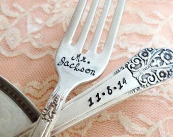 "Mr. & Mrs. vintage wedding forks Rogers ""precious"" hand stamped"