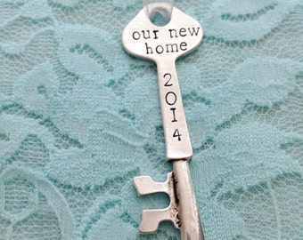 Our new home: Christmas Ornament Key  Personalized Skeleton Key. Silver.