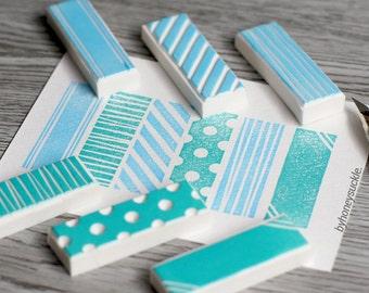 washi tape stamp, geometric rubber stamp, pattern stamp, hand carved rubber stamp, masking tape rubber stamp, dot stripe rubber stamp