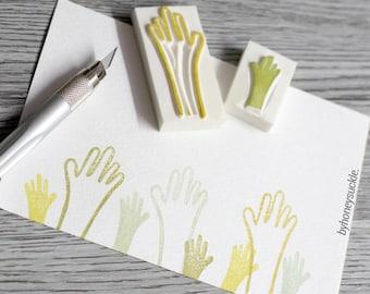 hands rubber stamp, hand carved rubber stamp set, human hand stamp, wave rubber stamp, say yes rubber stamp, concert rubber stamp, high five
