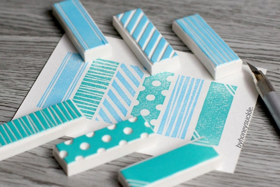 Washi tape stamp geometric rubber pattern hand