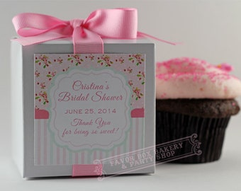 SHABBY CHIC SHOWER...One Dozen Personalized Cupcake Mix Party Favors for Bridal Showers, Baby Showers, Birthdays, and more!