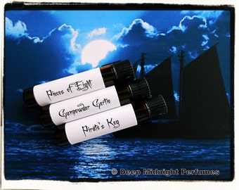 PIRATES BOOTY Perfume Sample Set - three Mini Vials - Perfume Oil - Pirate Perfume - Black Sails