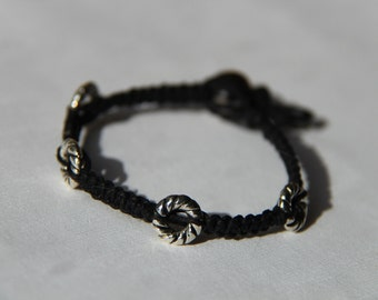 Black Hemp Bracelet with Silver Beads