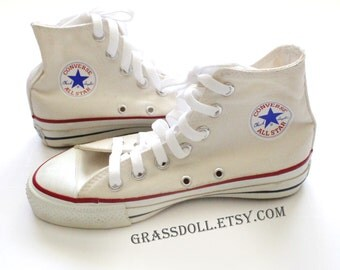 Vintage Made in USA Converse All Star Chuck Taylor 4 Hi Top Ivory w/ Box, Men 4 Women 6 / Item No. 7814