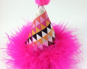 Dog Party Hat, Cat Party Hat, Triangle Birthday hat, Geometric Party Supplies