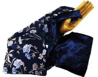 Reversible Lady's Scarf-Panne Velvet and Chiffon-Blue and Beige